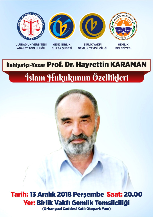 Konferans : Prof. Dr. Hayrettin Karaman